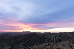 Por do sol nas montanhas de Elche Fotos de Stock Royalty Free