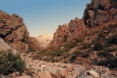 Por do sol nas montanhas de Usbequistão em agosto imagens de stock