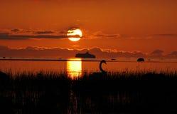 Por do sol no beira-mar Fotos de Stock Royalty Free