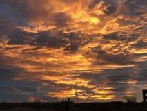 Por do sol no beira-mar fotografia de stock