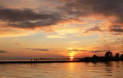 Por do sol no beira-mar Foto de Stock Royalty Free
