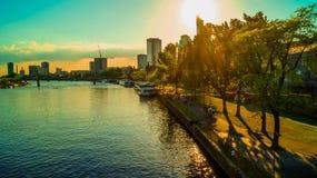 Por do sol no beira-rio de Francoforte Fotografia de Stock Royalty Free