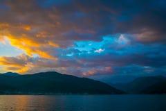 Por do sol no céu de Montenegro Imagem de Stock Royalty Free