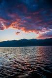 Por do sol no céu de Montenegro Imagem de Stock