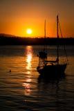 Por do sol no cais Fotos de Stock Royalty Free