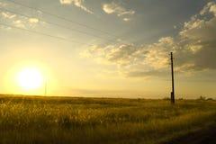 Por do sol no campo fotografia de stock