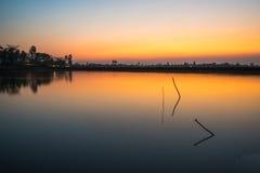 Por do sol no campo de Vietnam Imagem de Stock Royalty Free