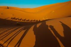 Por do sol no deserto de Sahara Imagem de Stock