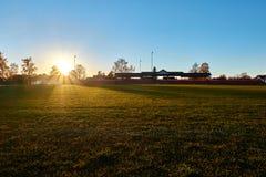 Por do sol no estádio Imagens de Stock Royalty Free