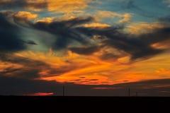 Por do sol no estepe Foto de Stock