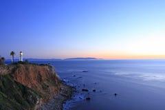 Por do sol no farol de Vicente do ponto na noite Imagens de Stock