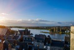 Por do sol no golpe do rio Fotos de Stock Royalty Free