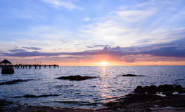 Por do sol no golpe sean Chon Buri Imagem de Stock