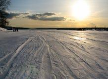 Por do sol no inverno Fotografia de Stock
