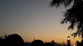 Por do sol no inverno Imagens de Stock