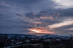 Por do sol no inverno Fotografia de Stock Royalty Free