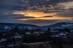 Por do sol no inverno Foto de Stock