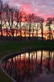 Por do sol no jardim do verão em St Petersburg, Rússia Fotos de Stock Royalty Free