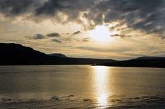 Por do sol no Kyle de Durness Imagens de Stock