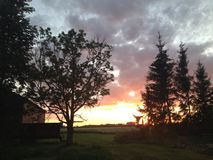 Por do sol no lado do país Fotografia de Stock Royalty Free