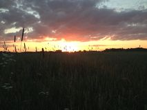 Por do sol no lado do país Imagem de Stock