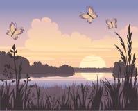 Por do sol no lago ilustração do vetor