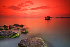 Por do sol no lago Balaton hungary fotografia de stock royalty free