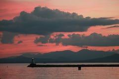 Por do sol no lago Champlain foto de stock