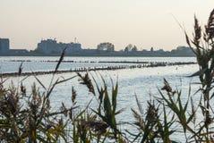 Por do sol no lago do pássaro em Pomorie, Bulgária Foto de Stock Royalty Free