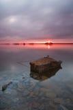 Por do sol no lago Lanier imagem de stock