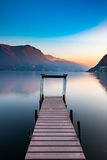 Por do sol no lago Lugano Foto de Stock Royalty Free
