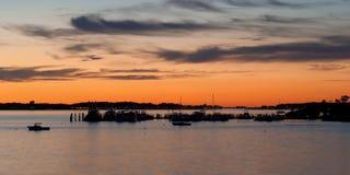 Por do sol no lago Montauk Fotos de Stock