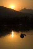 Por do sol no lago ocidental Imagem de Stock Royalty Free