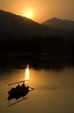 Por do sol no lago ocidental Foto de Stock