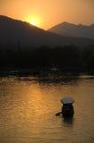 Por do sol no lago ocidental Foto de Stock Royalty Free