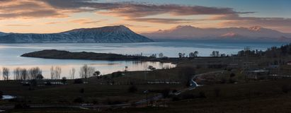 Por do sol no lago - Van City - Turquia Foto de Stock