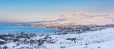Por do sol no lago - Van City - Turquia Fotos de Stock