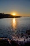 Por do sol no lagon Imagens de Stock Royalty Free