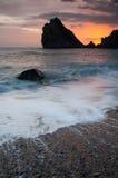 Por do sol no mar Fotografia de Stock