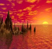 Por do sol no mar. ilustração do vetor