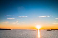 Por do sol no mar Báltico Imagem de Stock Royalty Free