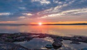 Por do sol no mar Báltico Foto de Stock