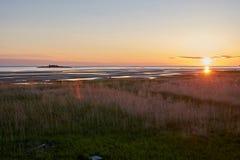 Por do sol no mar branco Fotografia de Stock Royalty Free