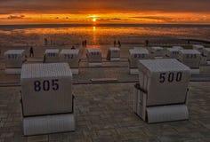 Por do sol no Mar do Norte Fotografia de Stock