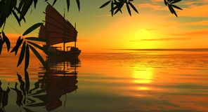 Por do sol no mar do sul. Imagens de Stock
