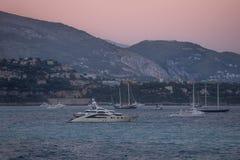 Por do sol no Monako fotografia de stock