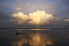 Por do sol no naessund em Dinamarca Fotografia de Stock