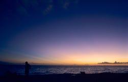 Por do sol no ocea do Cararibe Fotografia de Stock