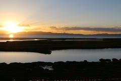 Por do sol no Pacífico Imagem de Stock Royalty Free