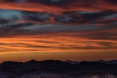 Por do sol no parque nacional de curvatura grande da vista de Sotol Imagem de Stock